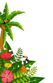 Beautiful background with tropical branches — Vector de stock