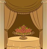 The vintage interior with curtain & flowers — Vector de stock