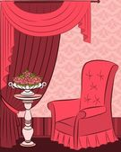 The vintage interior with curtain & flowers — Stockvector