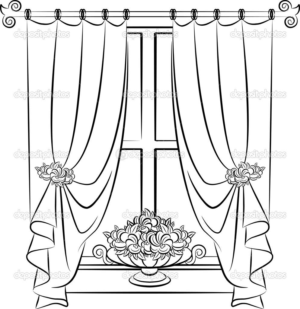 Curtain Line Drawing