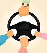 Cartoon hands hold the helm of automobile — Stock Vector