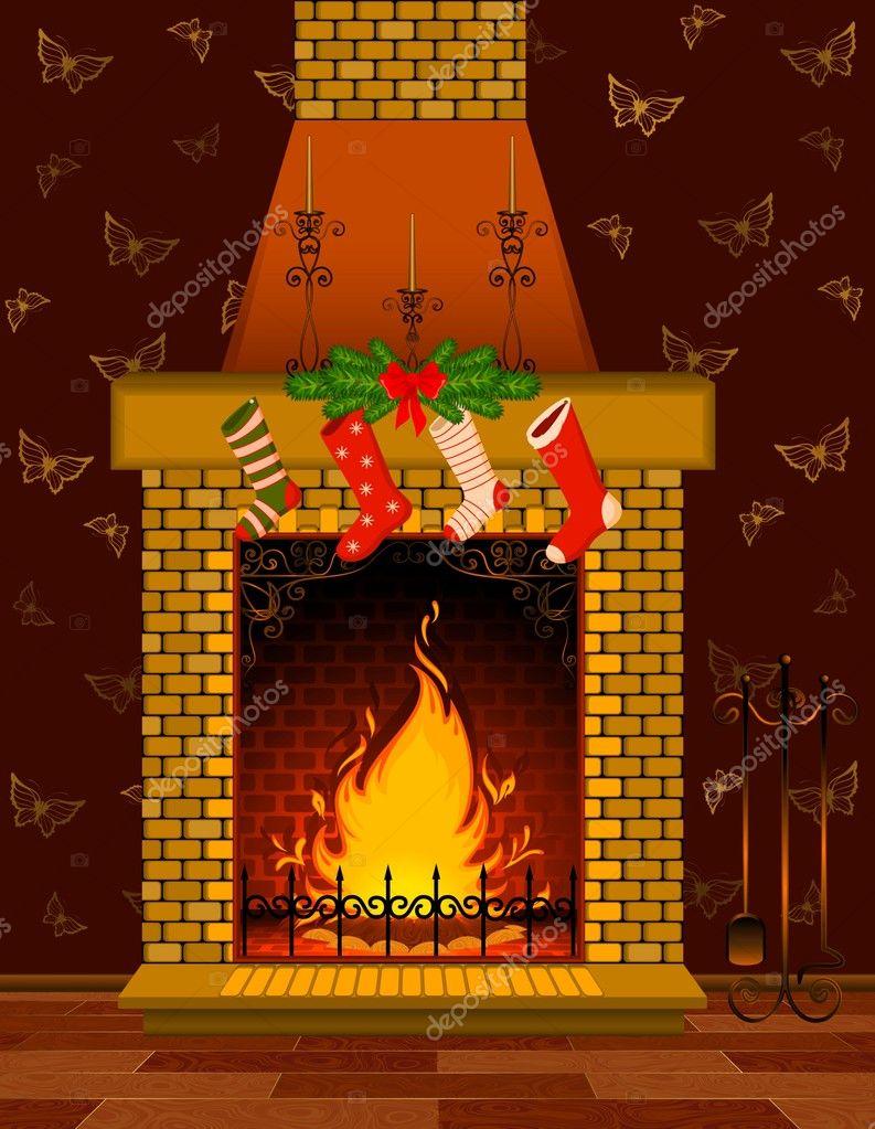 Chimenea piedra dibujos animados con un fuego vector de - Fuego decorativo para chimeneas ...