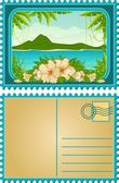 Beautiful Landscape with tropical plants. Blank Postcard — Stock Vector