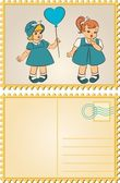 Vintage dibujos animados niño — Vector de stock
