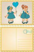 Vintage cartoon klein kind — Stockvector