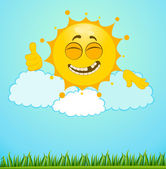 Funny little sun on a clouds — Stock Vector