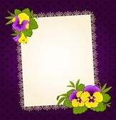 Violets with lace ornaments on background. Vector — Stock Vector