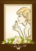 Vintage fashion girl with perfume. — Stock Photo
