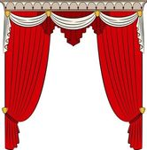 The vintage arch with curtain. — Stock Vector