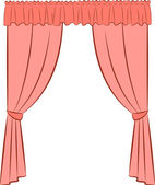 The vintage interior with curtain — Stock Vector