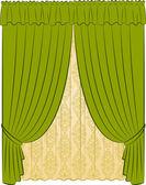 L'intérieur vintage avec rideau — Vecteur