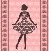 Vintage silhouette of girl — Stock Vector