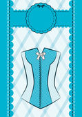 Vintage corsets on ornament background. — Stock Vector