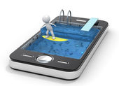 Surfing with your Mobile Phone — Stock Photo