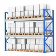 Photo: Warehouse Shelves. Pallet Rack, Full. Isolated on white. Part of Blue War