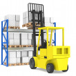 Stockfoto: Forklift and shelves. Forklift loading Pallet Rack. Part of Blue Warehous