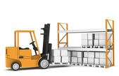 Forklift and shelves. Forklift loading Pallet Rack — Stock Photo