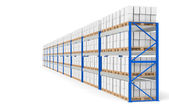 Warehouse Shelves, side view. Part of a Blue Warehouse and logistics series — Stock Photo