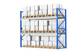 Warehouse Shelves. Pallet Rack, Full. Isolated on white. Part of a Blue War — Stock Photo
