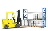 Forklift and shelves. Forklift loading Pallet Rack.Part of a Blue and yello — Stock Photo