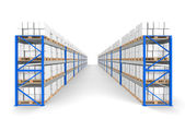 Warehouse Shelves 2 rows. Floor Shadows. Part of a Blue Warehouse and logis — Stock Photo