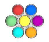 Färgglad färg hinkar, isolerade — Stockfoto