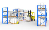 Forklift truck, hand truck and shelves.Part of a Blue and yellow Warehouse — Stock Photo