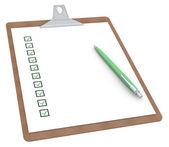 Pano kontrol listesi x 10 ve kalem ile — Stok fotoğraf