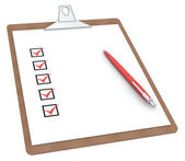 Clipboard with Checklist X 5 and Pen. — Stock Photo