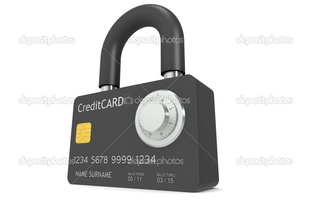 Credit Card made like a Padlock, with Combination Lock  — Stock Photo #7194432