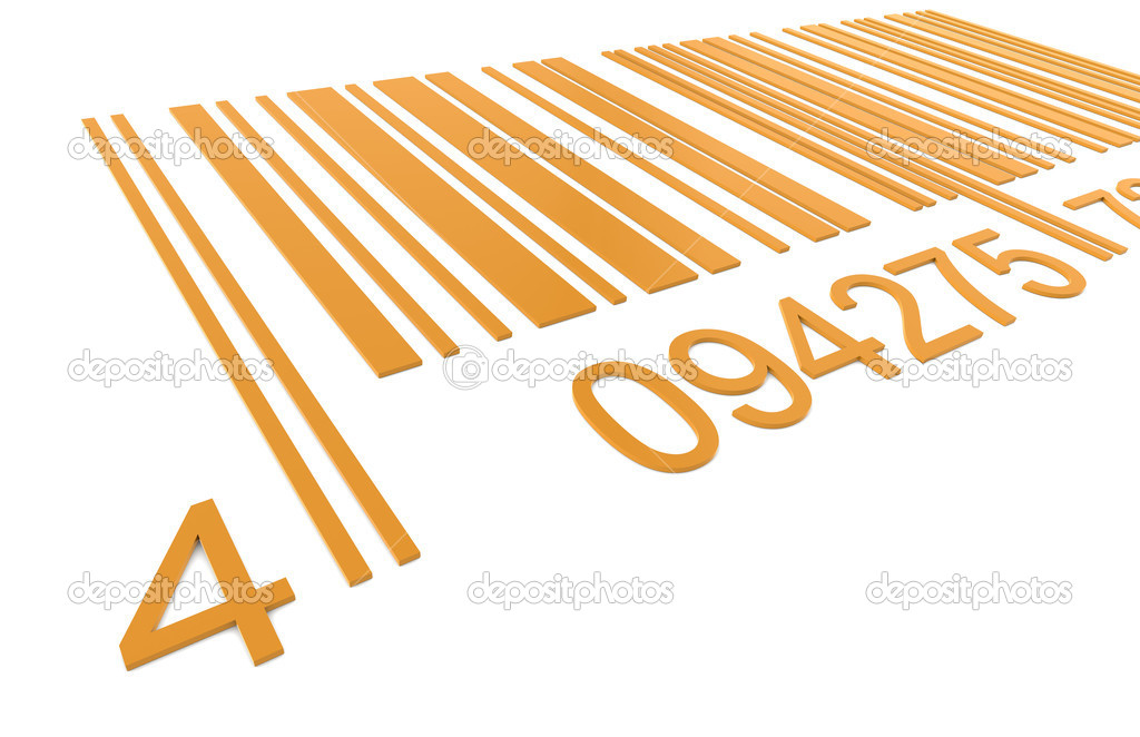 Bar Code. Closeup of a Bar Code in Orange  Foto Stock #7194455