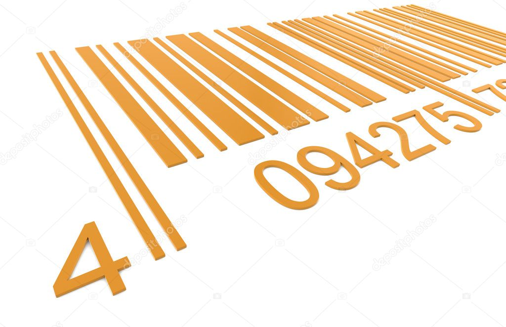 Bar Code. Closeup of a Bar Code in Orange   #7194455