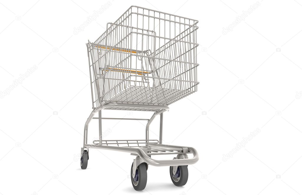 Steel Shopping Trolley with orange seat and handle.  Front view. — Stock Photo #7194488