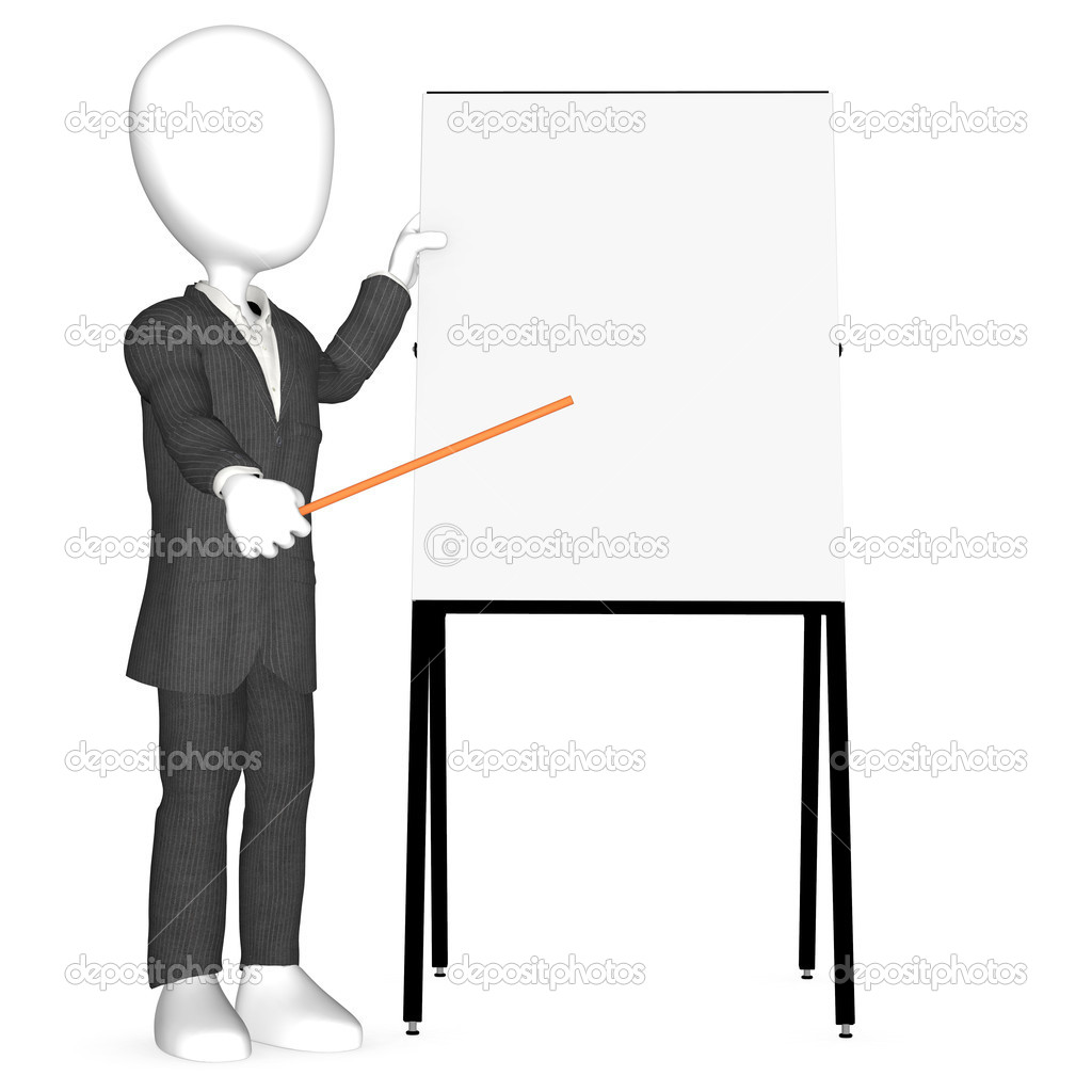3d human character pointing on blank Board.  Stock Photo #7194581