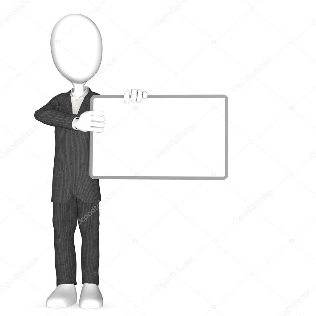 Abstract man holding a Blank Board for copy space.   — Stock Photo #7194586