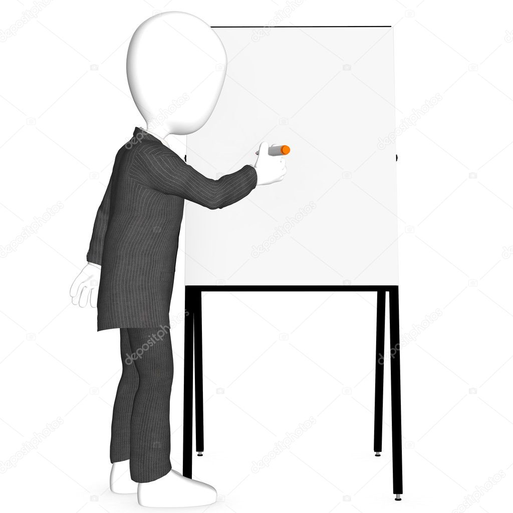 3d character writing on blank board   — Stock Photo #7194593
