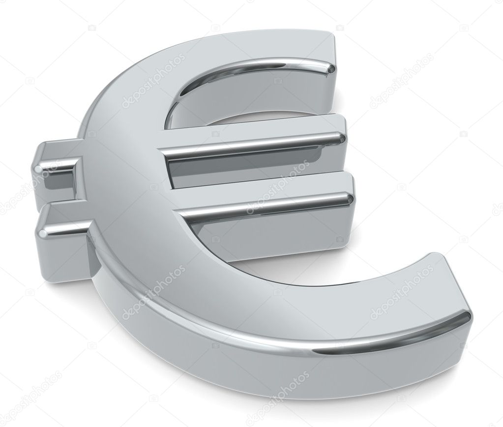 3D Euro symbol. Silver color — Stock Photo #7194847