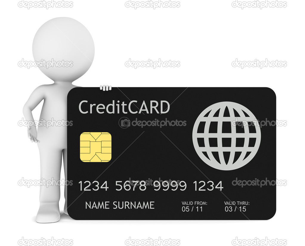 3D little human holding a Credit Card. Isolated. — Stock Photo #7194945