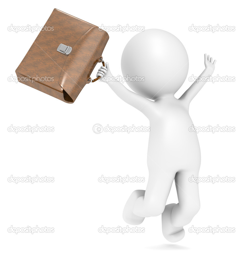 3D Human with a briefcase jumping of joy. — Stock Photo #7194961