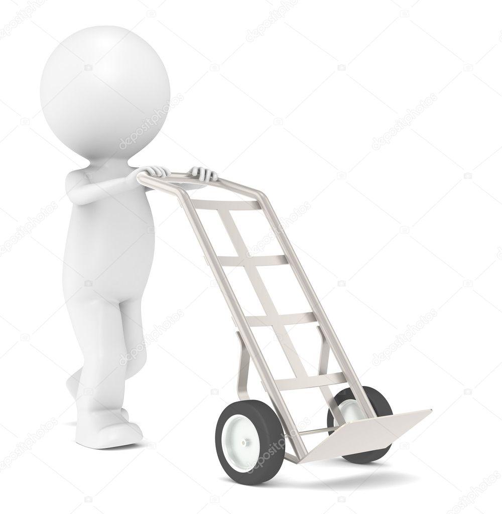 livraison 3d petit personnage humain avec chariot manuel photographie johanh 7194967. Black Bedroom Furniture Sets. Home Design Ideas