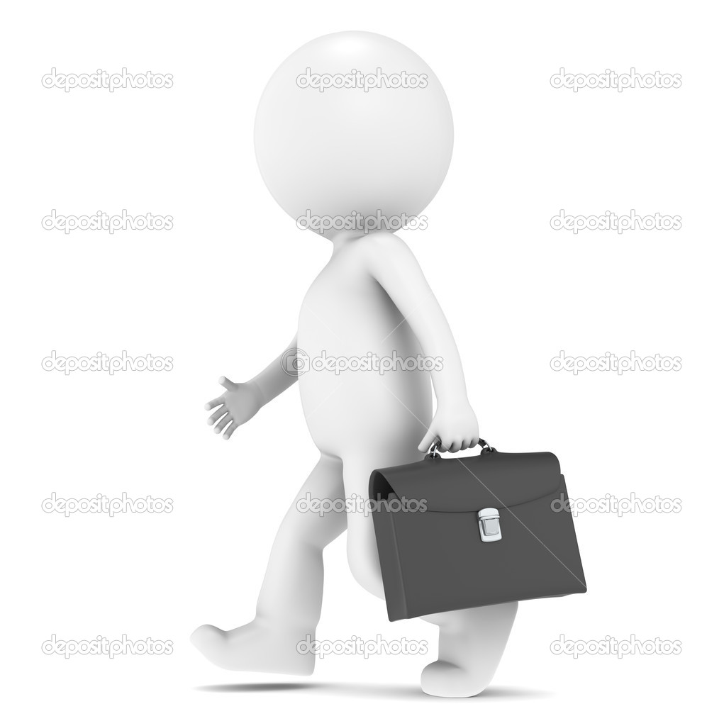 3D little human character walking with a Briefcase — Stock Photo #7195086