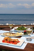 Lunch for two by the sea — Stock Photo