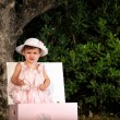Kid portrait on a garden — Stockfoto