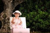 Kid portrait on a garden — Stock Photo