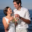 Bride and groom at the beach — Stock Photo #7504893