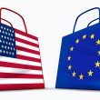 America and the European Union trade - Stock Photo