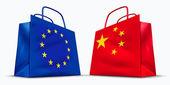 China and the European Union trade symbol — Stock Photo