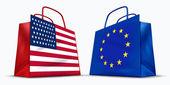 America and the European Union trade — Stock Photo