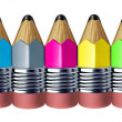 Stock Photo: Multi color pencil border