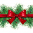 Foto Stock: Red bow with pine border